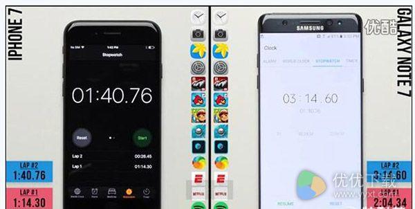iPhone 7 note 7速度对比图