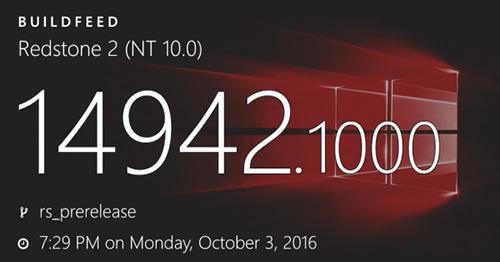 Windows 10更新:Build 14942版快速通道更新已放出