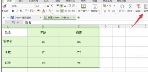 在wps表格中怎么设置按姓氏排序2
