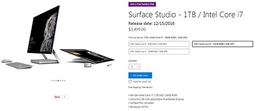 微软Surface一体机开放预订 面向专业用户对抗苹果iMac2