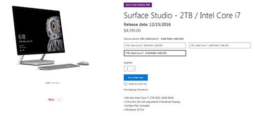 微软Surface一体机开放预订 面向专业用户对抗苹果iMac3