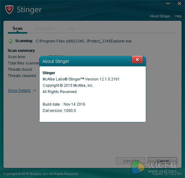 McAfee AVERT Stinger 32位免费版 V12.1.0.2161 - 截图1