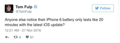 iOS 10.1.1坑哭iPhone 6S/6/5S:电池近乎残废