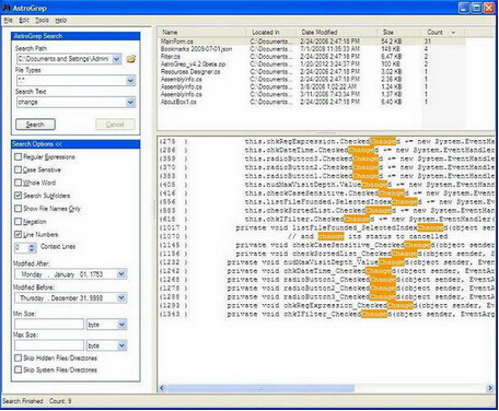 AstroGrep 4.4.2(搜索工具) - 截图1