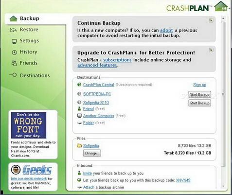 CrashPlan x32 4.3.0(信息备份专家) - 截图1