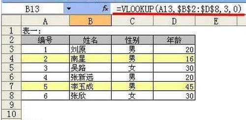 根据表二中的姓名,查找姓名所对应的年龄。