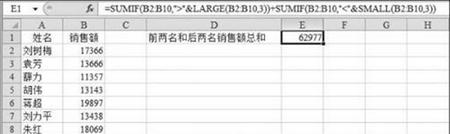 图2 计算前两名和后两名员工的销售额总和