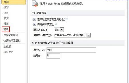 "Power Point选项窗口左侧的""高级"""