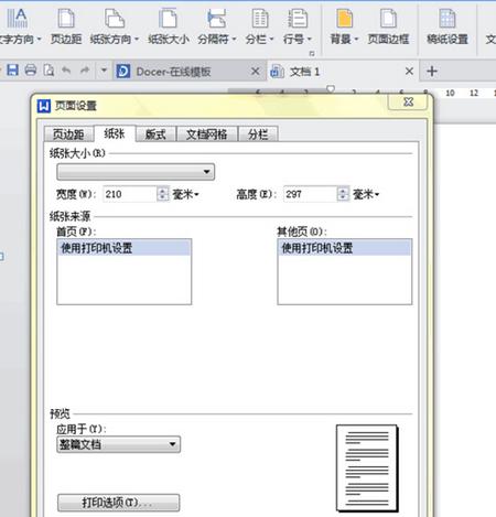 WPS2013版怎么设置纸张大小啊
