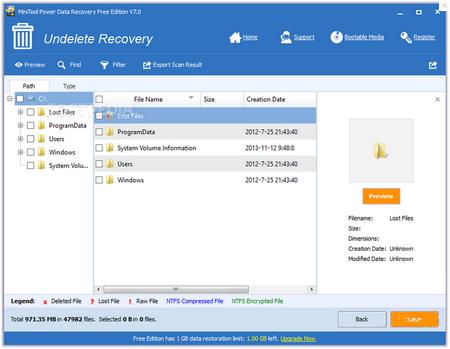 MiniTool数据恢复工具 V7.1免费版(数据恢复) - 截图1