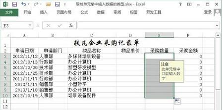 图6 复制对单元格的输入限制