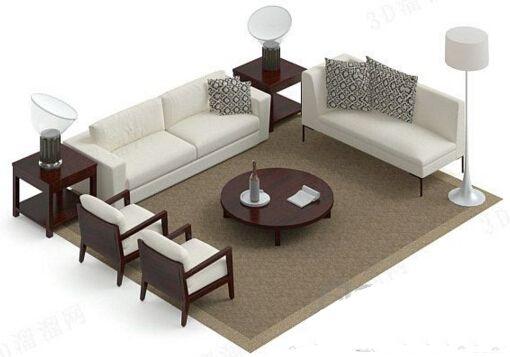 白色木质沙发茶几组合 3d模型软件 - 截图1
