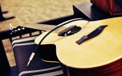 帅气的吉他静物摄影壁纸