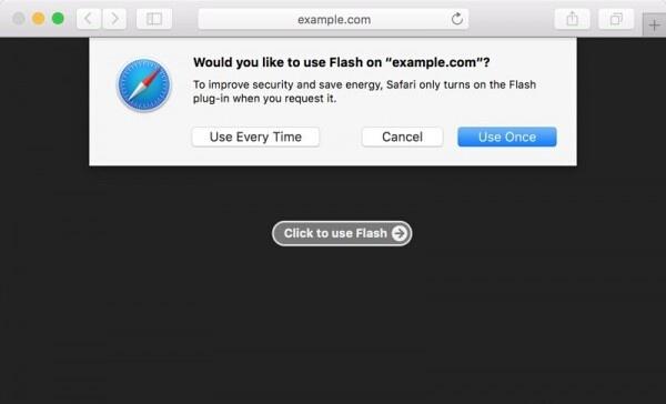 Safari 10浏览器将设置默认禁用Flash插件