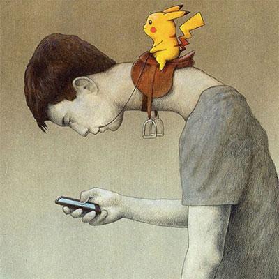 波兰艺术家用画讽刺了Pokemon Go的流行现象